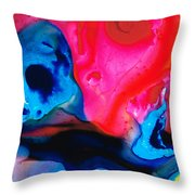 True Colors - Vibrant Pink And Blue Painting Art Throw Pillow