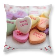 True Love Valentine Candy Hearts Throw Pillow