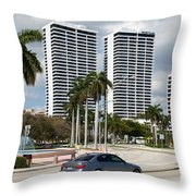 Trump Plaza In Downtown West Palm Beach Skyline Throw Pillow