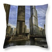 Trump Tower And River Front Throw Pillow