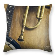 Trumpet And Banjo Throw Pillow