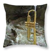 Trumpet N Canvas Throw Pillow