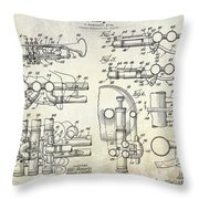 Trumpet Patent Drawing Throw Pillow
