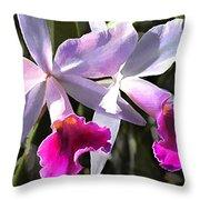 Trumpeting Purple Cattleya Orchids Throw Pillow