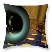 Tuba Goes Disco Throw Pillow