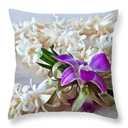 Tuberose Lei With Purple Orchid And Ribbon Throw Pillow