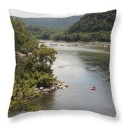 Tubing On The Potomac River At Harpers Ferry Throw Pillow