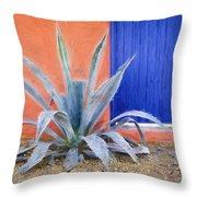 Tucson Barrio Blue Door Painterly Effect Throw Pillow