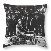 Tucson Police Department  On Steps Of City Hall With 1st Police Motorcycle C. 1917 Tucson Arizona Throw Pillow
