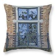Tudor Style Windows With Balcony Throw Pillow