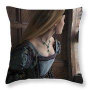 Tudor Woman Spying Through A Window Throw Pillow
