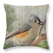 Tuffted Titmouse Early Spring Throw Pillow