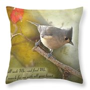 Tuffted Titmouse With Verse Throw Pillow