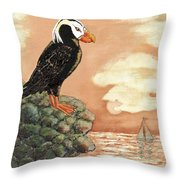 Tufted Puffin At Dusk Throw Pillow