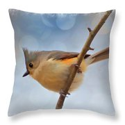 Tufted Titmouse - Digital Paint II With Frame Throw Pillow