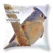 Tufted Titmouse Christmas Card Throw Pillow