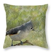 Tufted Titmouse With Decorations Throw Pillow
