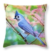 Tufted Titmouse With Spring Booms - Digital Paint II Throw Pillow
