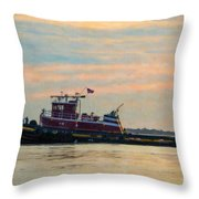 Tug Boat Hard At Work Throw Pillow