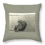 Tug Boat In Puerto Rico 1956 Throw Pillow