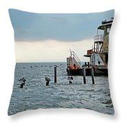 Tug Boat On Lake Pontchartrain Throw Pillow