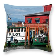 Tug Boat Pilot Docked On Waterfront Art Prints Throw Pillow