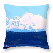 Tug With Mt Baker Throw Pillow