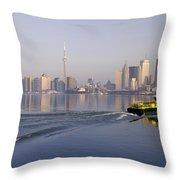 Tugboat And City Skyline, Toronto Throw Pillow