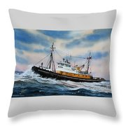 Tugboat Island Commander Throw Pillow