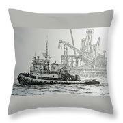 Tugboat Martha Foss Throw Pillow