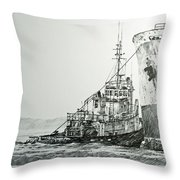 Tugboat Richard Foss Throw Pillow