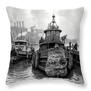 Tugboat Winter  1946 Throw Pillow