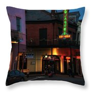 Tujagues At Night In New Orleans Throw Pillow