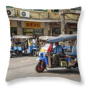 Tuk Tuk Taxis In Bangkok Thailand Throw Pillow