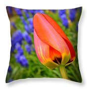 Tulip And Muscari  Throw Pillow