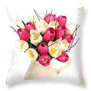 Tulip Blooms Throw Pillow by Debra  Miller