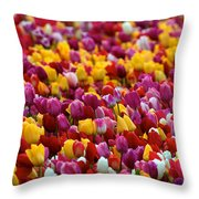 Tulip Bud Farm Portrait Throw Pillow
