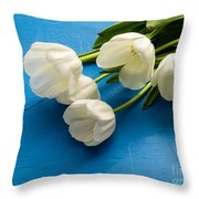 Tulip Flowers Over Blue Throw Pillow