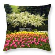 Tulip Garden Throw Pillow