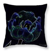 Tulip Glowing In The Moonlight Throw Pillow