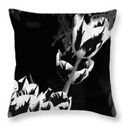 Tulip Group In Black And White Throw Pillow
