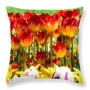 Tulip Stand In Mount Vernon Washington Throw Pillow