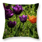 Tulip Time Purple And Orange Throw Pillow