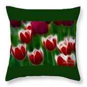 Tulips-6823-fractal Throw Pillow