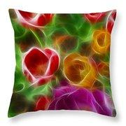 Tulips-6944-fractal Throw Pillow