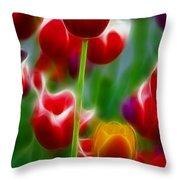 Tulips-7069-fractal Throw Pillow