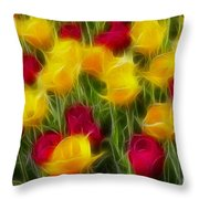 Tulips-7106-fractal Throw Pillow