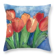 Tulips After The Rain Throw Pillow