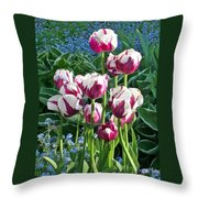 Tulips Among The Forget Me Nots Throw Pillow