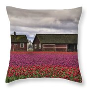 Tulips And Barns Throw Pillow